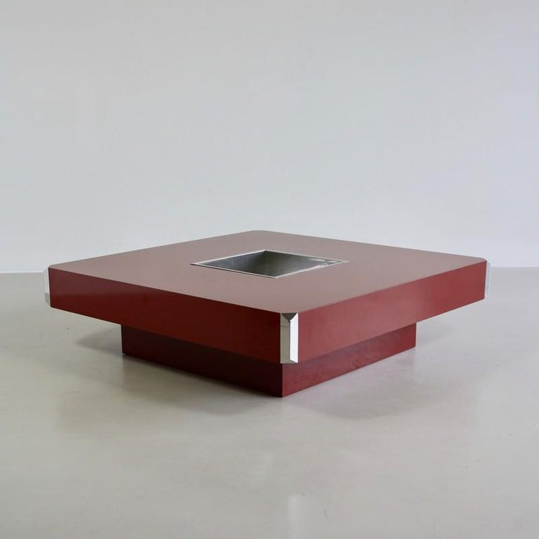 Late 20th Century Large Square Coffee Table by Willy Rizzo, 1972 For Sale