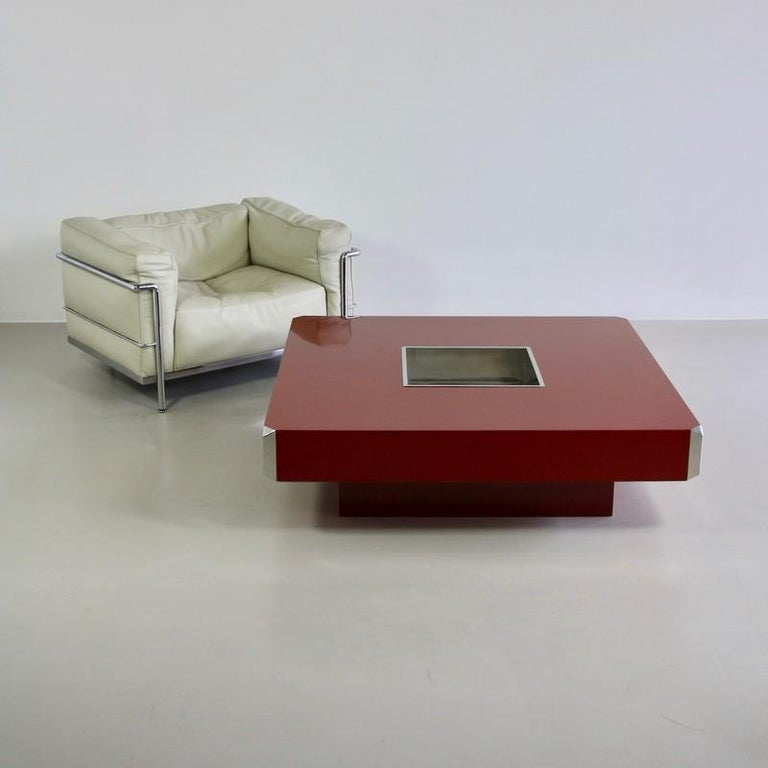 Metal Large Square Coffee Table by Willy Rizzo, 1972 For Sale