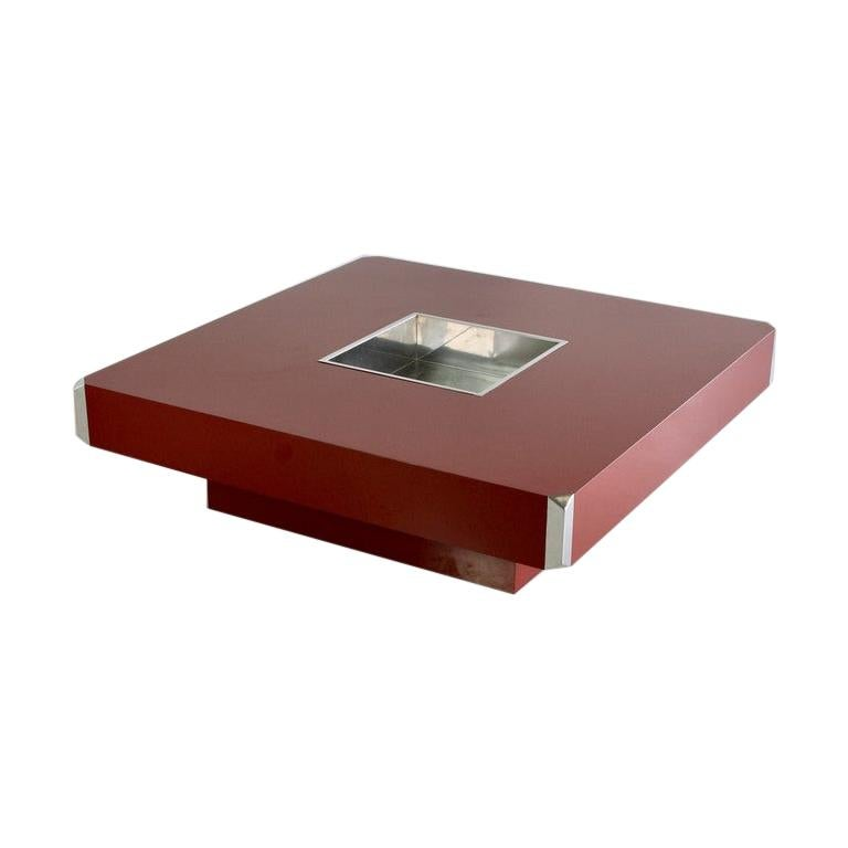 Large Square Coffee Table by Willy Rizzo, 1972 For Sale