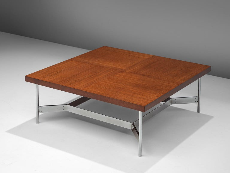 Mid-Century Modern Large Square Coffee Table in Teak and Steel For Sale