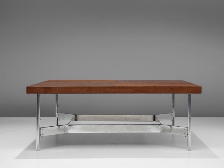 German Large Square Coffee Table in Teak and Steel For Sale