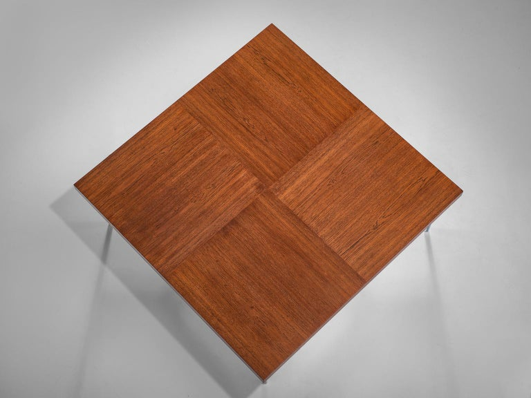 Large Square Coffee Table in Teak and Steel For Sale 1