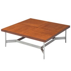 Large Square Coffee Table in Teak and Steel