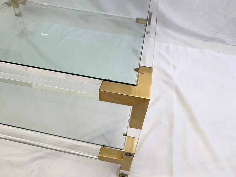 Mid-Century Modern Large Square Coffee Table, Lucite and Brass, 1970 For Sale