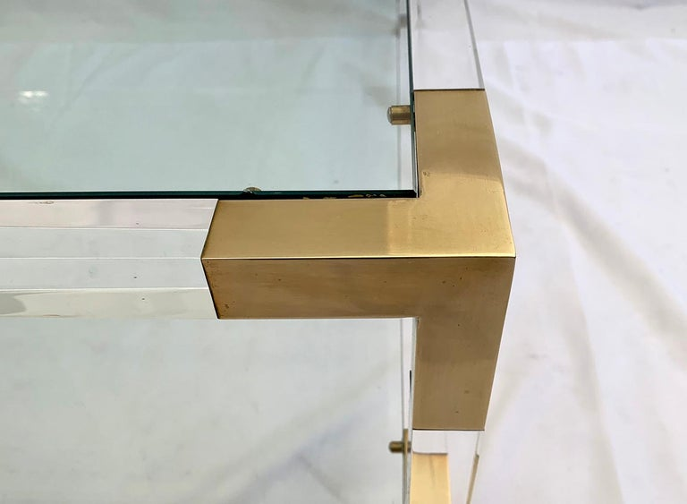French Large Square Coffee Table, Lucite and Brass, 1970 For Sale