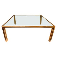 Large Square Copper-Tube & Glass Coffee Table