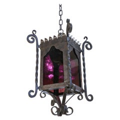 Large Spanish Colonial Square Forged and Hammered Iron and Art Glass Lantern