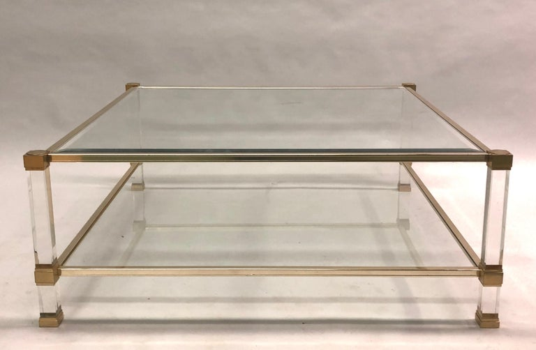 Mid-Century Modern Large Square French Midcentury Double Tier Lucite and Brass Coffee Table, Vandel For Sale