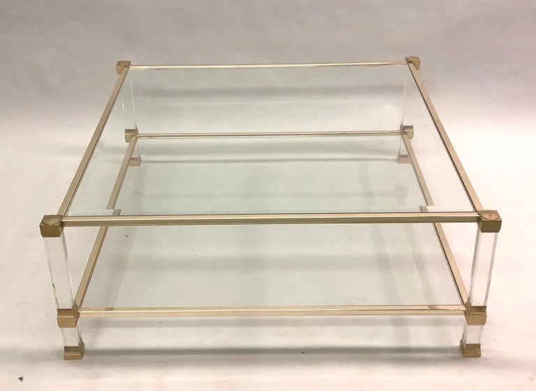 20th Century Large Square French Midcentury Double Tier Lucite and Brass Coffee Table, Vandel For Sale