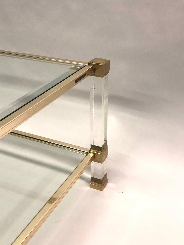 Large Square French Midcentury Double Tier Lucite and Brass Coffee Table, Vandel For Sale 2