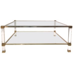 Large Square French Midcentury Double Tier Lucite and Brass Coffee Table, Vandel