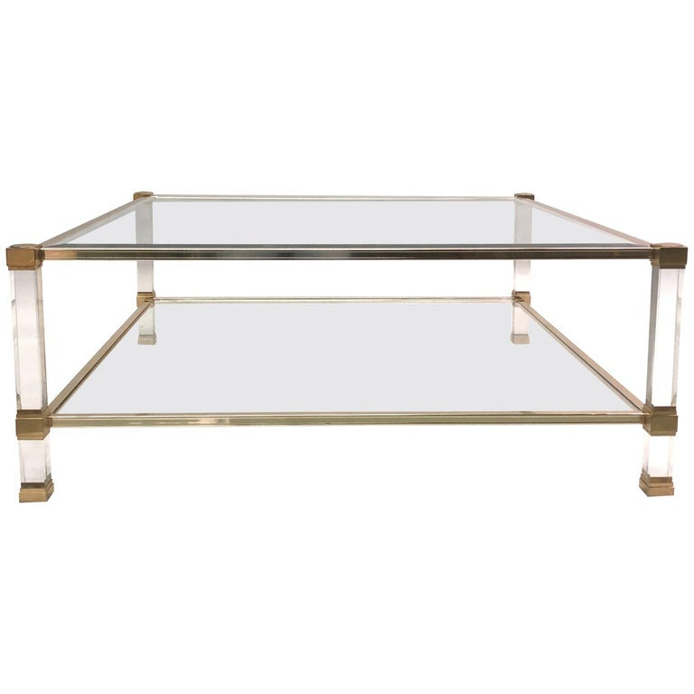 Large Square French Midcentury Double Tier Lucite and Brass Coffee Table, Vandel For Sale