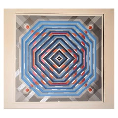 Large Square Geometric Acrylic Colorful Painting, by Philippe Delhom France 2020