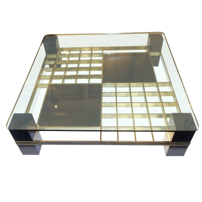 Large Square Glass Top Coffee Table, France, 1960s