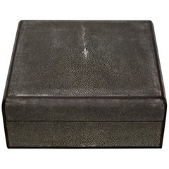 Large Square Grey Authentic Shagreen Covered Box