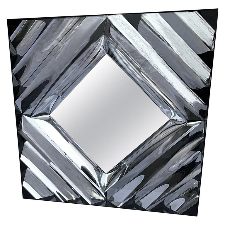 Large Square Mid-Century Modern Wall Mirror For Sale