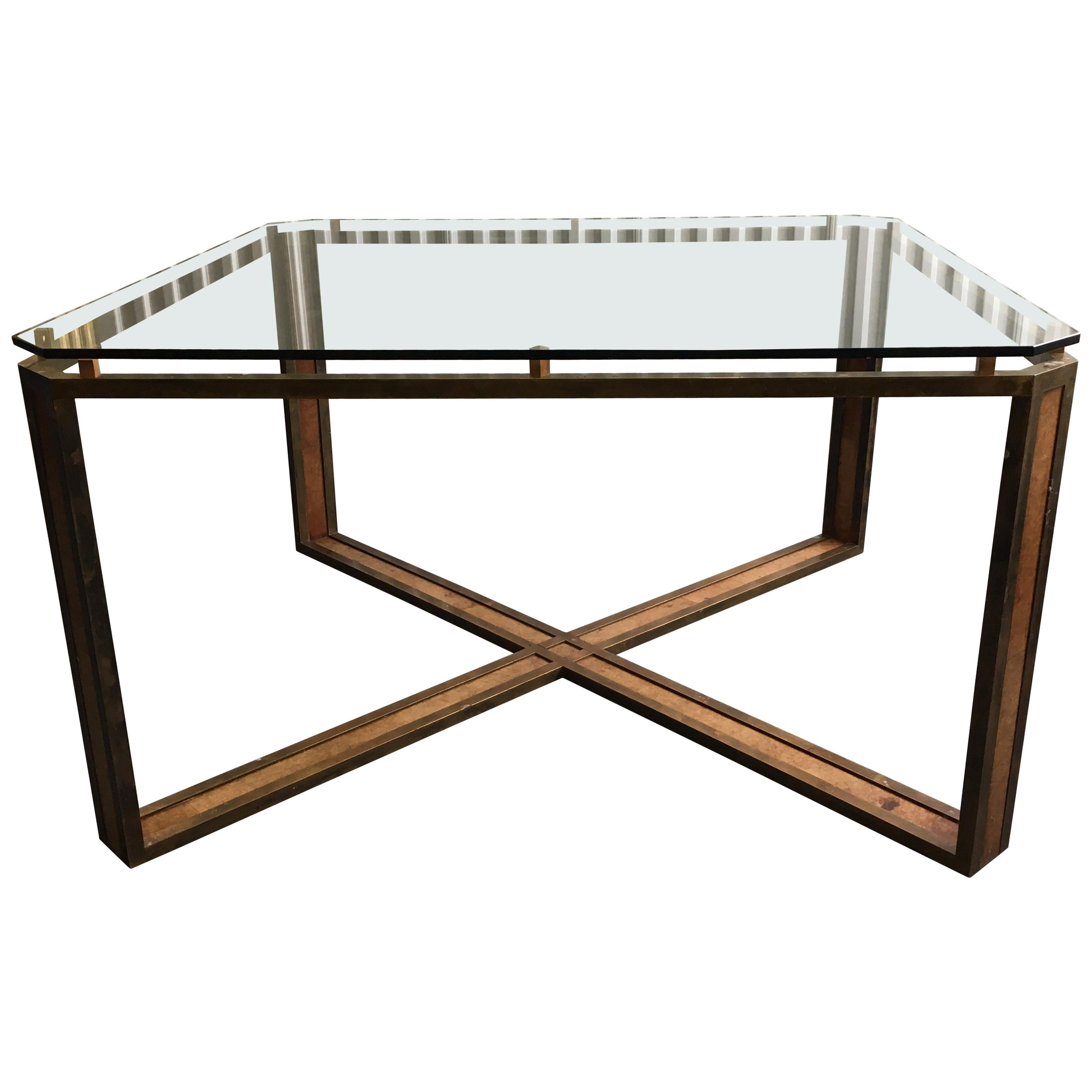 Large Square Midcentury X-Base Brass and Leather Table with Glass Top