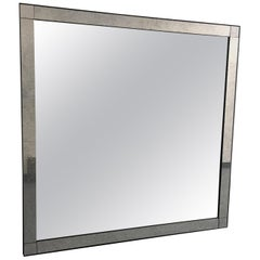Large Square Mirror with Antiqued Glass, 21st Century