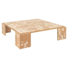 Large Square Oak Wood Coffee Table with Asymmetric Stenciled Design