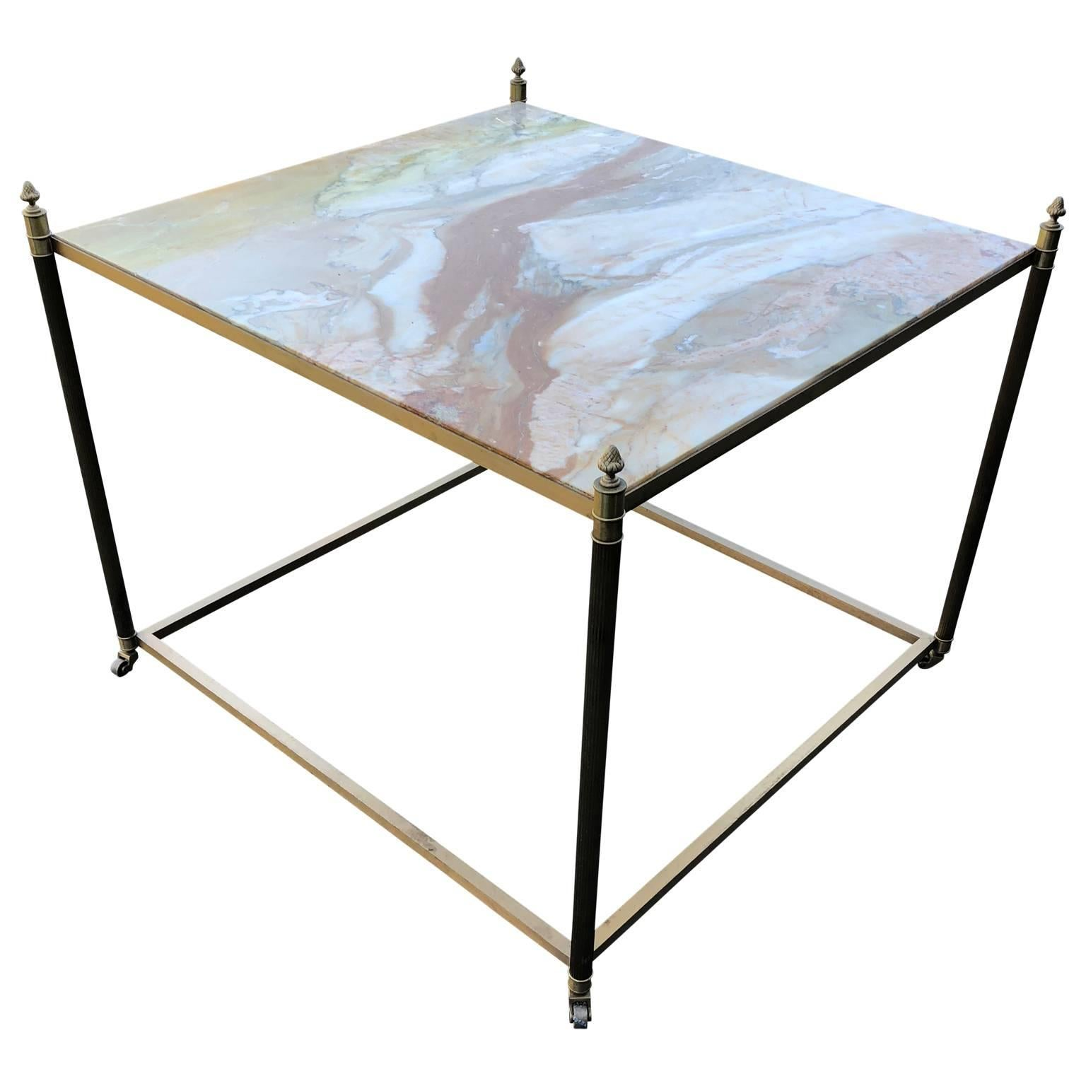 Large Square Onyx and Brass Coffee, Sofa or Cocktail Table by Maison Bagués