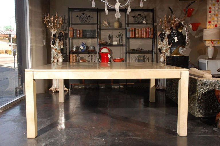 American Large Square Parchment Table by Karl Springer For Sale