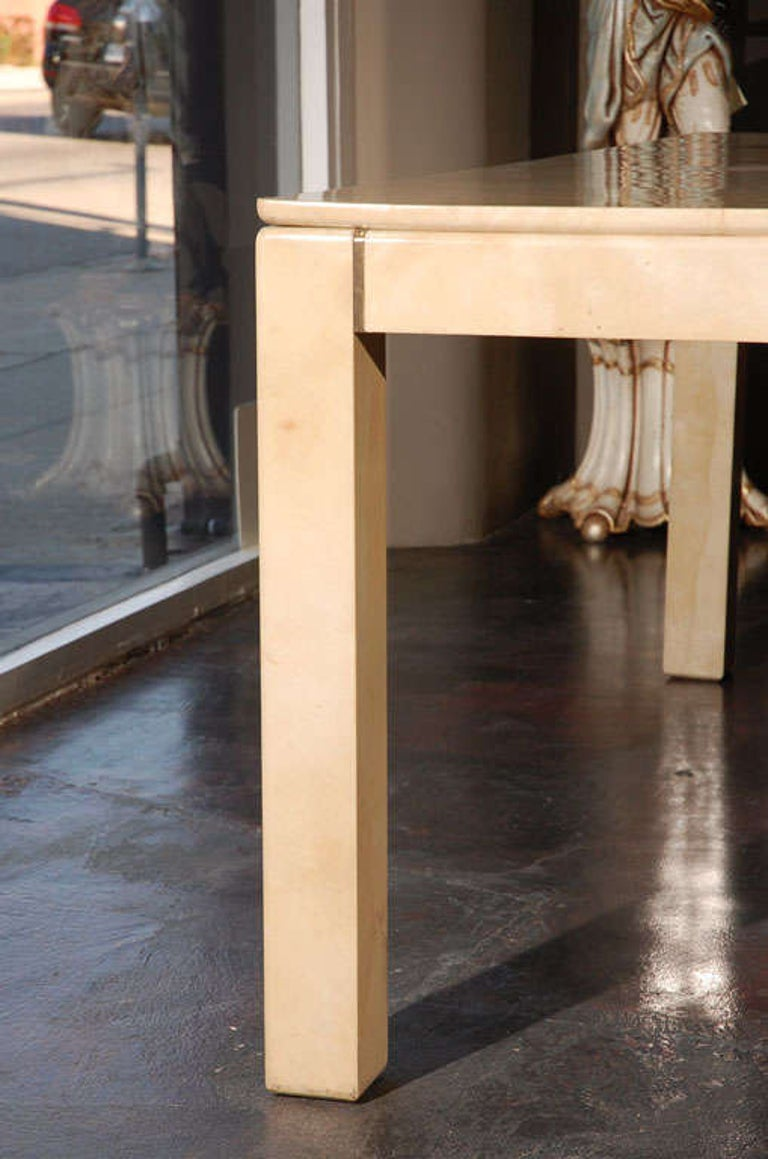 Large Square Parchment Table by Karl Springer In Good Condition For Sale In Los Angeles, CA