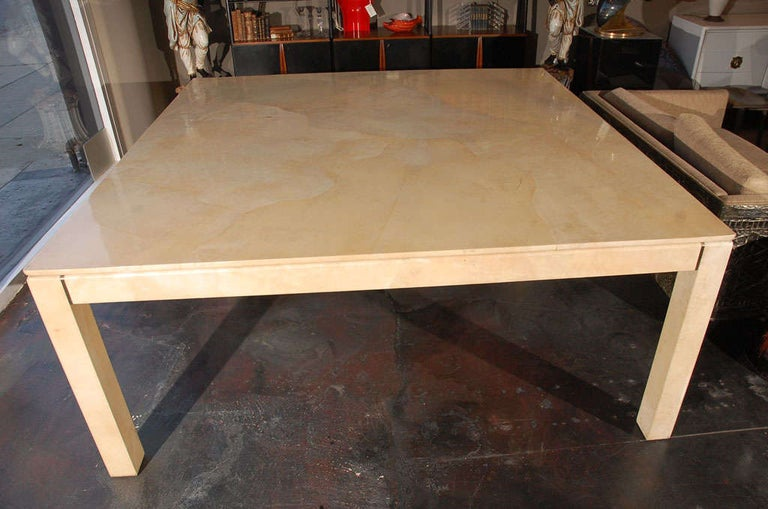 20th Century Large Square Parchment Table by Karl Springer For Sale
