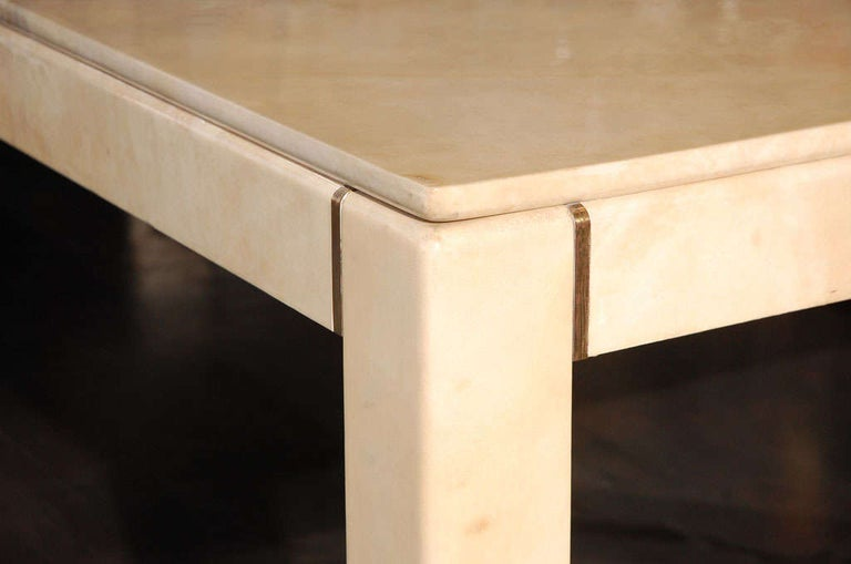 Large Square Parchment Table by Karl Springer For Sale 2