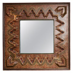 Large Square Polychrome Decorated Moroccan Mirror, 20th Century