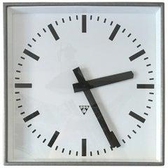 Large Square Pragotron Wall Clock, 1960s