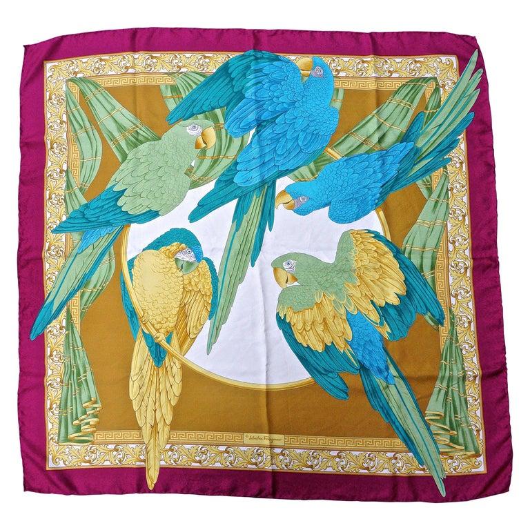 354d88dd521 Large Square Salvatore Ferragamo Pure Silk Parrot Print Scarf, made in Italy