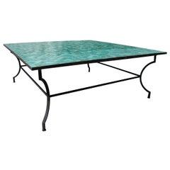 Large Square Spanish Green Glazed Zellige Tiled Mosaic Iron Outdoor Table