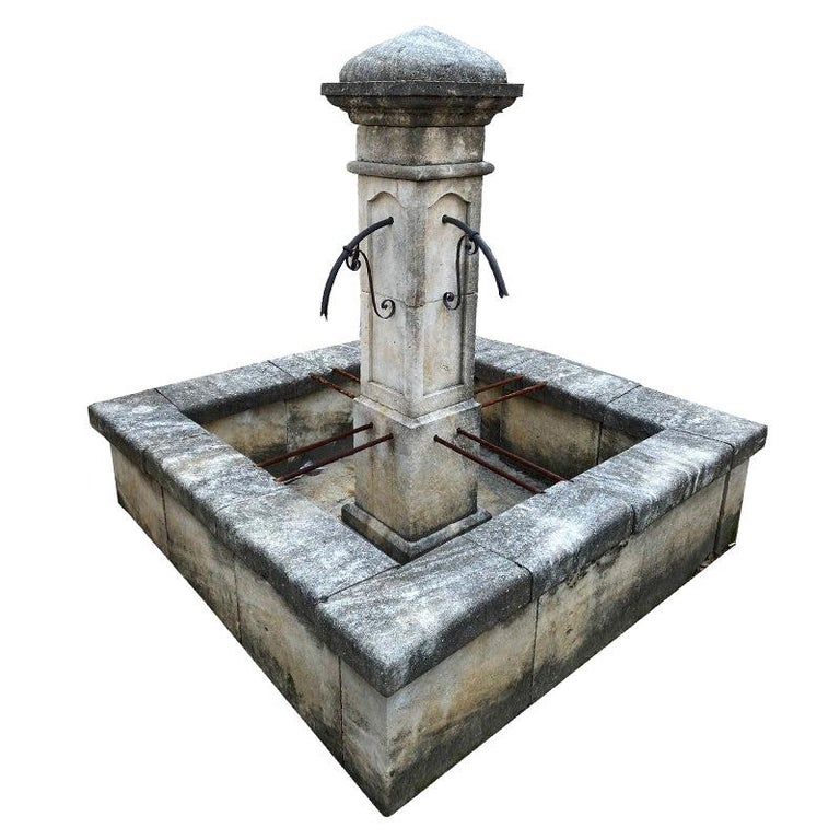 Large Square Surround Column Fountain For Sale
