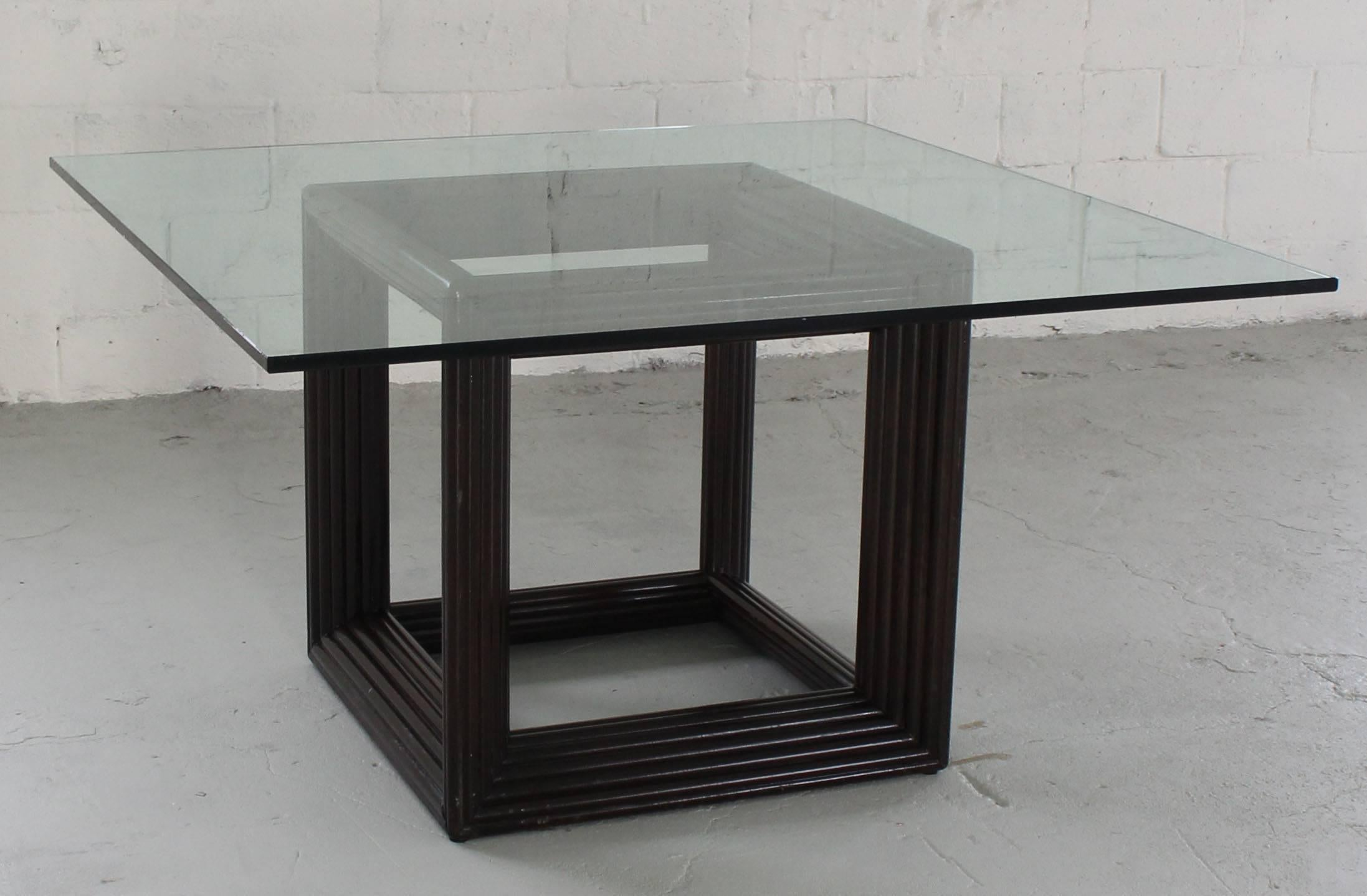 Large Square Thick Glass Top Rattan Cube Base Dining Conference - Large square conference table