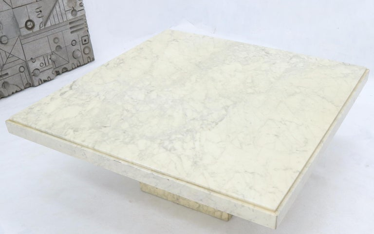 Mid-Century Modern Large Square White Marble Coffee Table For Sale