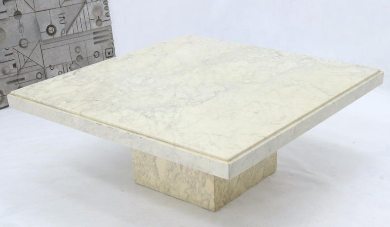 American Large Square White Marble Coffee Table For Sale