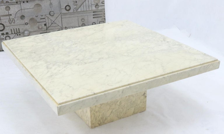 Polished Large Square White Marble Coffee Table For Sale