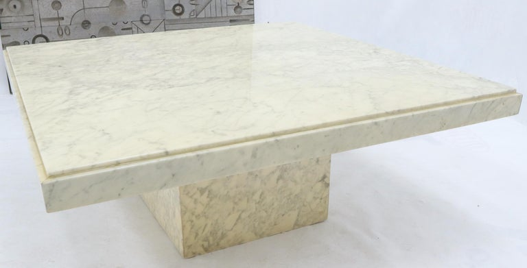 20th Century Large Square White Marble Coffee Table For Sale
