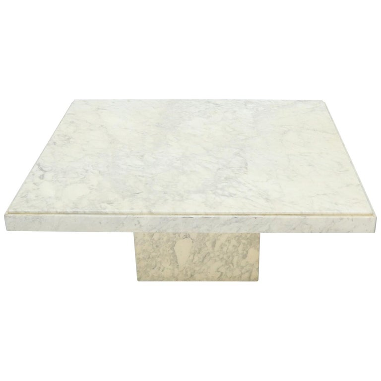 Large Square White Marble Coffee Table For Sale