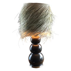 Large Stacked Balls Lamp, Lampshade in Natural Palm Fiber Design 1970