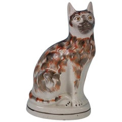 Large Staffordshire Seated Cat Figure