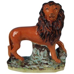 Large Staffordshire Standing Lion Figure