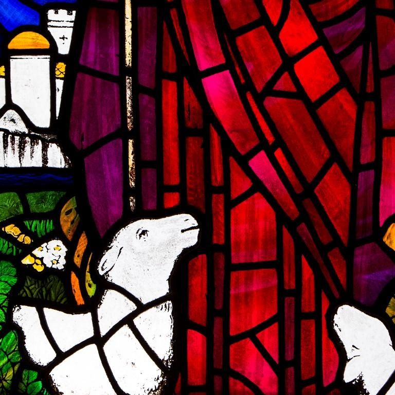 Late Victorian Large Stained Glass Jesus Window from Scottish Church For Sale