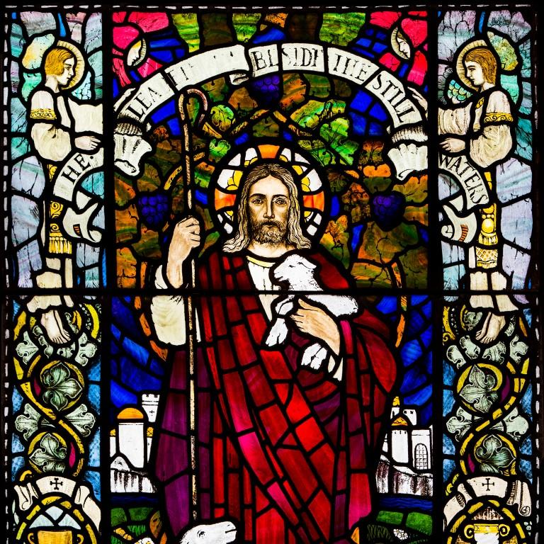 Hand-Crafted Large Stained Glass Jesus Window from Scottish Church For Sale