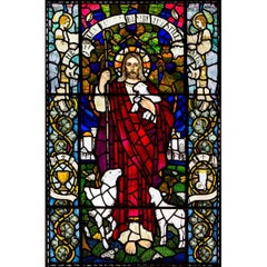 Large Stained Glass Jesus Window from Scottish Church