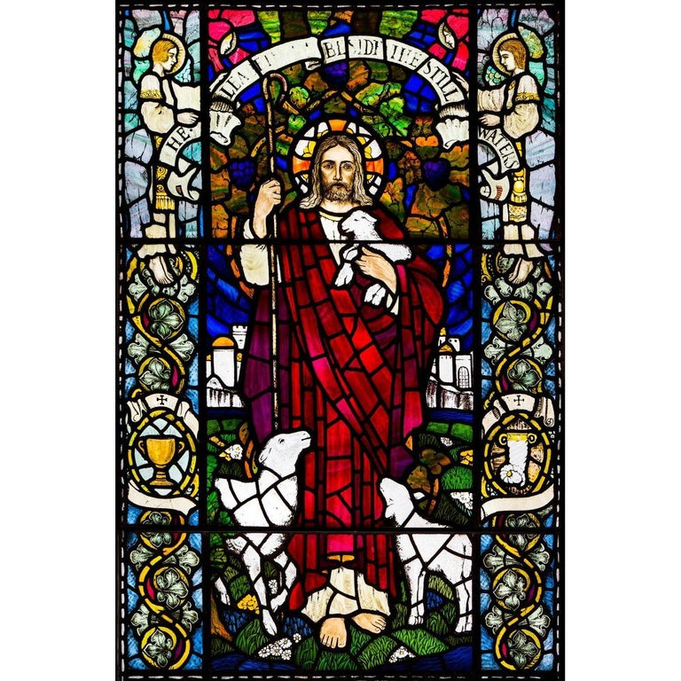 Large Stained Glass Jesus Window from Scottish Church For Sale