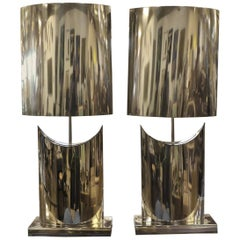 Large Stainless Curtis Jere Lamps and Shades