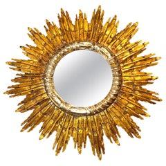 Large Starburst Sunburst Gilded Wood Mirror, circa 1930s