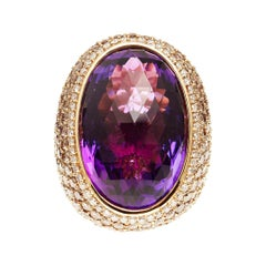 Large Statement Cocktail Ring with 34ct Amethyst Center Stone