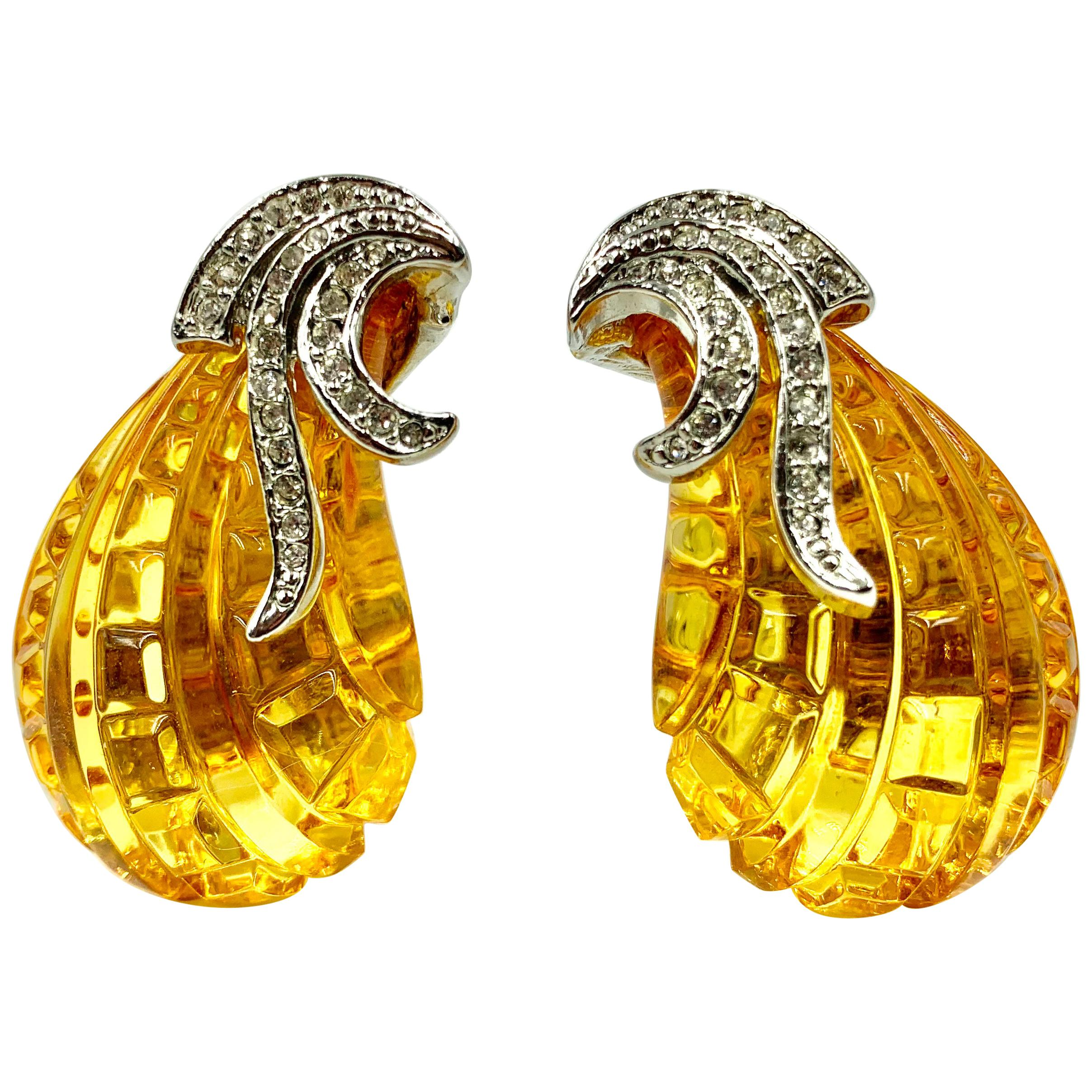 Large Statement Vintage Kenneth Jay Lane Faux Amber and Crystal Earrings